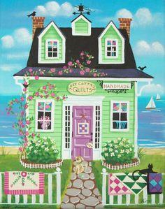 Etsy の Cozy Cottage Quilt Shop Folk Art Print by KimsCottageArt