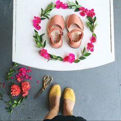 Even Pons deserve flower crowns.   Pictured: Kid's Frailera Style in Coral; Classic Women's in Saffron #kidsfrailerastyle #avarcasusa #dsfloral #pons #handmade #leathersandals