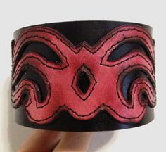 Black and Pink Leather Bracelet Cuff by ChristyKeysCreations, $30.00