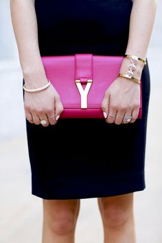 Saint Laurent clutch | Pink Peonies
