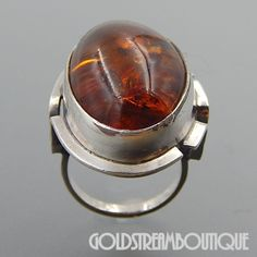 POLAND STERLING SILVER RICH COGNAC AMBER MODERNIST OVAL RING SIZE 7.25