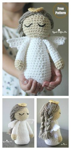 crochet doll This delicate Amigurumi Christmas Angel Doll Free Crochet Pattern is so pretty and would look great in your home during the holidays. Doll Amigurumi Free Pattern, Crochet Snowflake Pattern, Crochet Dolls Free Patterns, Crochet Doll Pattern, Free Crochet, Angel Crochet Pattern Free, Free Christmas Crochet Patterns, Crochet Snowflakes, Amigurumi Doll