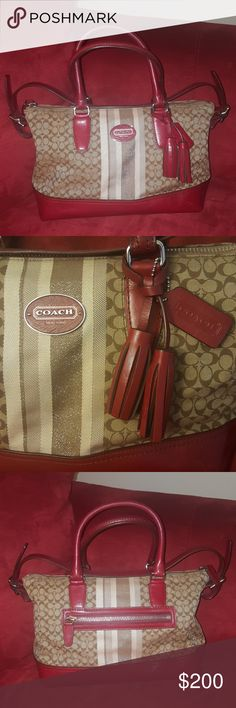 *FLASH SALE* COACH Red Striped Signature Gorgeous satchel has been kept in very good condition. Signs of normal use on bottom of bag as pictured. Also, a few pen marks that are in the area of the pouches where I used to keep them. Really not visible at all. Beautiful mix of red, tan, and ivory colors. Features a zip pocket on the back and a zip compartment with two pouch slots on the inside. This beauty is just waiting to spice up your outfits!!❤❤ COACH Bags Satchels