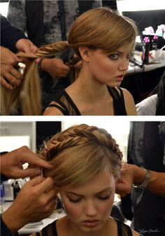 fishtail milkmaid braids!