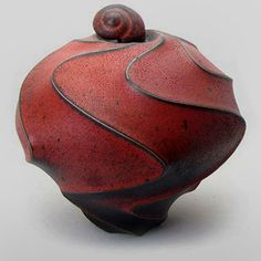 Red Sandblasted Carved Jar  – Jim Connell ceramics-jim-connell-394x394