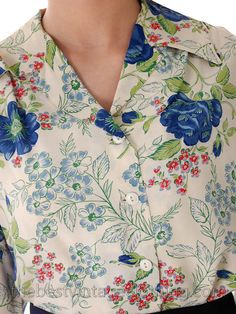 Vintage 1940s Rayon Blouse Printed Blue Roses M-L