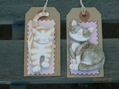 cute 3D decoupage cat gift tags. Kitty gift by Pearlypantscrafts, £3.50