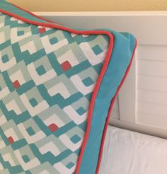 Duralee Bella Dura Aqua and Coral Indoor/Outdoor Designer Boxed Pillow Cover with Piping by SewSusieDesigns on Etsy