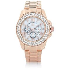 River Island Rose gold tone gem encrusted watch ($60) ❤ liked on Polyvore featuring jewelry, watches, accessories, river island, gold, women, rose gold tone watches, dial watches, roman numeral jewelry and gem jewelry