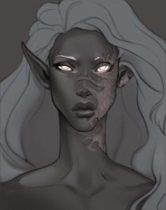Beautiful female drow elf with scar and glowing eyes