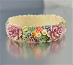 Celluloid Bracelet Art Deco Jewelry Hand Painted Bangle Flower Vintage Costume Jewelry. $85.00, via Etsy.