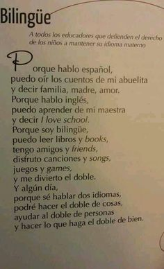 Because I& Bilingual Book: Everything is Antologia Poetica song- by Alma Flores Ada Dual Language Classroom, Bilingual Classroom, Bilingual Education, Spanish Classroom, Elementary Spanish, Ap Spanish, Spanish Lessons, How To Speak Spanish, Learn Spanish