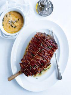 bacon and rosemary roasted lamb