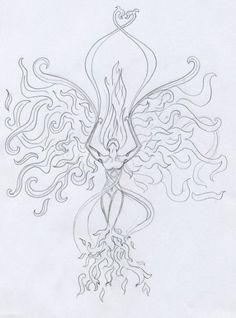 Phoenix lady tattoo sketch by Cwylldren.deviant… on Phoenix lady tattoo sketch by Cwylldren.deviant… on Phoenix Back Tattoo, Rising Phoenix Tattoo, Phoenix Bird Tattoos, Phoenix Tattoo Design, Simple Wrist Tattoos, Wrist Tattoos For Women, Back Tattoo Women, Tattoo Designs, Tattoo Design Drawings