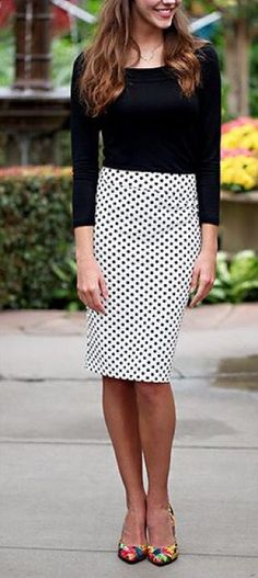 Stitch Fix Fashion 2017! Ask your stylist for something like this in your next fix, delivered right to your door! #sponsored #StitchFix Business attire. Black long sleeved sweater tucked into polka dotted high waisted skirt.