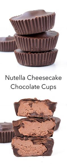 These 5 ingredient Nutella Cheesecake Chocolate Cups are the perfect no bake dessert! With a creamy Nutella cheesecake filling and a crunchy chocolate shell. Recipe from sweetestmenu.com #cheesecake #chocolate #Nutella #dessert