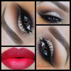 dark sexy makeup. brown smokey eyeshadow. red lips. black eyeliner.