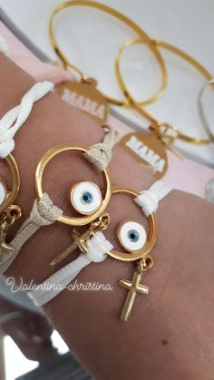 Greek Evil Eye, Handmade Keychains, Crafts Beautiful, Evil Eye Bracelet, Diy Accessories, Christening, Baby Shower, Bracelets, Creative