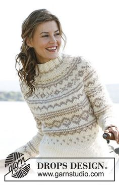 "Knitted DROPS jumper with round yoke and Norwegian pattern in ""Eskimo""or Andes. Size: S - XXXL."