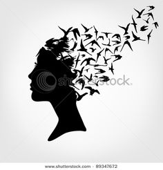 Vector of 'Female silhouette and butterfly' on Colourbox Silhouette Art, Woman Silhouette, Small Buddha Statue, Ballet Drawings, Illusion Art, Optical Illusions, Art Pictures, Blackwork, Tattoo Ideas
