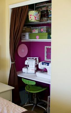 44 Ideas Bedroom Closet Transformation Desk Areas For 2019 Sewing Closet, Sewing Nook, Sewing Room Design, Closet Office, Closet Bedroom, Closet Space, Closet Desk, Corner Closet, Bedroom Nook