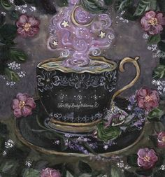 Witch Painting, Pure Green Tea, Victoria Art, Dream Tea, Magic Art, Fantasy, Surreal Art, Faeries, A Boutique