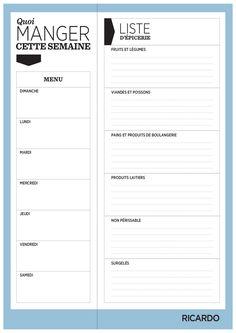 Modèle de menu de la semaine à imprimer sous forme de semainier vierge