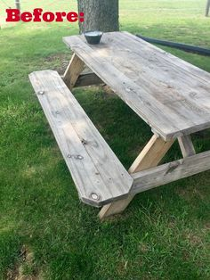An inexpensive wooden picnic table needed a makeover and I was just the DIYer to handle the job. This is a super easy project that can be completed in just a f… tables makeover Wooden Picnic Table Makeover Painted Picnic Tables, Diy Picnic Table, Outdoor Picnic Tables, Backyard Picnic, Patio Table, Outdoor Dining, Backyard Ideas, Dining Area, Rustic Backyard