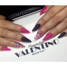 "Black & Pink stilettos with ""Neon Dots"" @wildflowersnails  @valentinobeautypure #MargaritasNailz #teamvalentino #dustfreelife #GelNails #sculptednails #nailfashion #stilettonails #nailsmagazine #nailgame #nailcouture #nails #nailedit #nailswag #fashionnails"