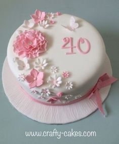 Pink and white flowers cake - Celebration cakes for women, Party organization ideas, Party plannig business White Fondant Cake, Fondant Flower Cake, Fondant Cakes, Cupcake Cakes, 90th Birthday Cakes, Birthday Cakes For Women, Birthday Ideas, Cakes Originales, Birthday Cake With Flowers