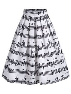 Music Notes High Waist Midi Skirt - White - L Cheap Fashion online retailer providing customers trendy and stylish clothing including different categories such as dresses, tops, swimwear. Mode Outfits, Stylish Outfits, Fashion Outfits, Stylish Clothes, White Midi Skirt, White Skirts, Music Dress, Cheap Fashion, Womens Fashion