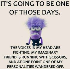 It's going to be one of those days. The voices in my head are fighting, my imaginary friend is running with scissor's, and at one point one of my personalities wandered off.