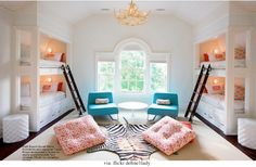 turquoise & coral/orange patterns & zebra rug. very cool bunk room