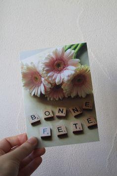 """Carte postale """"Bonne fête"""" photo gerbera roses : Cartes par le-petit-bazar-des-trinomettes-en-delire"""