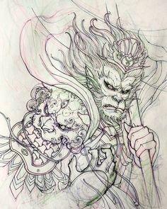 Monkey king sketch. #monkeyking #sketch #illustration #drawing #irezumi #tattoo #asiantattoo #asianink #chronicink #irezumicollective