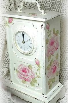 my charming rose cottage ✿⊱╮X ღɱɧღ Decoupage, Vintage Shabby Chic, Shabby Chic Decor, Vintage Furniture, Painted Furniture, Rose Clock, Cool Clocks, Shabby Chic Bedrooms, Romantic Homes