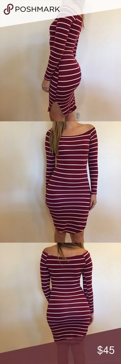 Off The Shoulder Burgundy Striped Midi Burgundy & White Striped Off The Shoulder Midi Dress. Long sleeved. Curved Hem detail. Brand new. Never worn. No flaws. Available in S-M-L. 87% polyester, 13% spandex. 15% discount on all 3+ item bundles made with the bundle feature. No Paypal. No trades. No offers will be considered unless you use the make me an offer feature.     Please follow  Instagram: BossyJoc3y  Blog: www.bossyjocey.com Dresses Midi