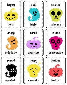 Print and cut the flash cards to learn about emotions in English and Spanish.