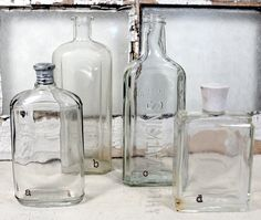 4 Vintage Bottles * Glass * Containers * Jars * Old Bottles