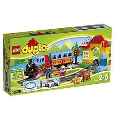 Wer kennt Sie nicht aus Kindertagen? Duplo Legosteine. Das Lego Duplo Eisenbahn-Set besteht aus Dampflok mit Geräusch, Wagggons und Tankpumpe.