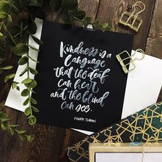 """""""Kindness is a language that the deaf can hear and the blind can see"""" -Mark Twain 💕 Clips and paper from @thecraftcentral #brushlettering #qoute #motivation #Handlettering #lettering #typography #brushtype #designinspiration #goodletters  #handmadefont #moderncalligraphy #calligratype #calligraphy  #Regram via @inkscribbler"""