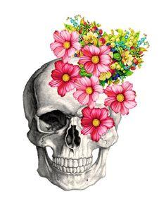 Skeleton Head Art Print by Lxza - X-Small Arte Com Grey's Anatomy, Anatomy Art, Skull Anatomy, Skull Artwork, Skull Painting, Skull Tattoo Flowers, Pop Art, Skeleton Art, Floral Skull