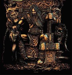 """Thor on His throne. I like the grimness. EXCEPT: Thor doesn't have wolves. He has GOATS. (The Boss likes to call this pose """"Thor on the toilet. Norse Pagan, Old Norse, Norse Symbols, Norse Mythology, Tattoo Thor, Norse Tattoo, Viking Tattoos, Viking Art, Viking Warrior"""