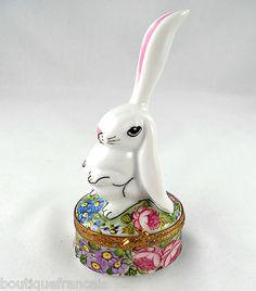 Limoges Box White Bunny Rabbit on Floral Base Flowers Peint Main   eBay