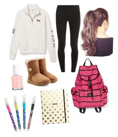 """What I wore today."" by elizabethnutt ❤ liked on Polyvore featuring Splendid, Victoria's Secret PINK, UGG Australia, Essie, Kate Spade and Vera Bradley"