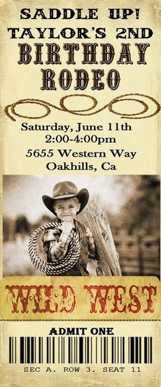 Rodeo Birthday Party Ticket Invitation by SugarSpiceInvitation