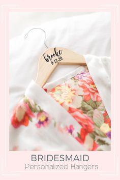 This personalized bridesmaid hanger for the bride and bridesmaids is a unique idea for your wedding hanger dress photos and for your bridal party as a keepsake to remember for years to come! Perfect for the brides wedding dress and for the entire wedding party. bridesmaid gifts, bridesmaid boxes, getting ready outfit, bridal robe, wedding ideas, wedding photo ideas, bridesmaid proposal Monogrammed Bridesmaid Gifts, Bridesmaid Gifts Unique, Bridesmaid Gift Bags, Bridesmaid Proposal, Personalized Wedding, Bridesmaid Hangers, Bridal Hangers, Wedding Dress Hanger, Wedding Hangers