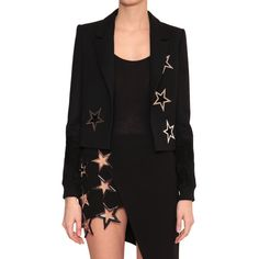 Anthony Vaccarello Cut-out stars jacket (7,785 ILS) ❤ liked on Polyvore featuring outerwear, jackets, black, anthony vaccarello, short black jacket, black button jacket, lined jacket and star jacket