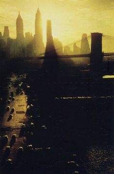 NYC by Ernst Haas- I like how the photographer has used a pacific time to capture the moment the sun is setting on New York this makes the photo have more of an effect. Color Photography, Street Photography, Landscape Photography, Urban Photography, Concrete Jungle, Magnum Photos, Urban Landscape, Landscape Design, City Streets