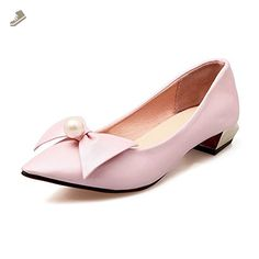 A&N Womens Beaded Bows Square Heels Pointed-Toe Pink Urethane Pumps Shoes - 6.5 B(M) US - An pumps for women (*Amazon Partner-Link)